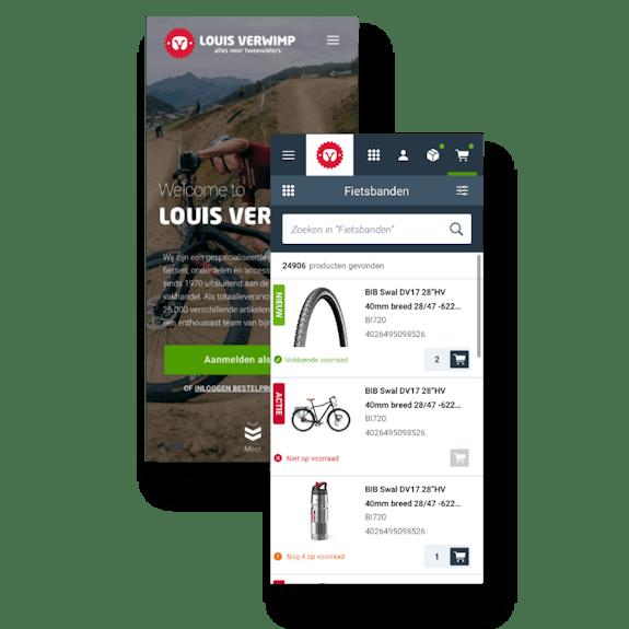 B2B webshop and dealer portal - Maatwerk voor Louis Verwimp - Mobile view
