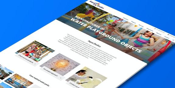 Aqua Drolics Corporate website Craft CMS Header