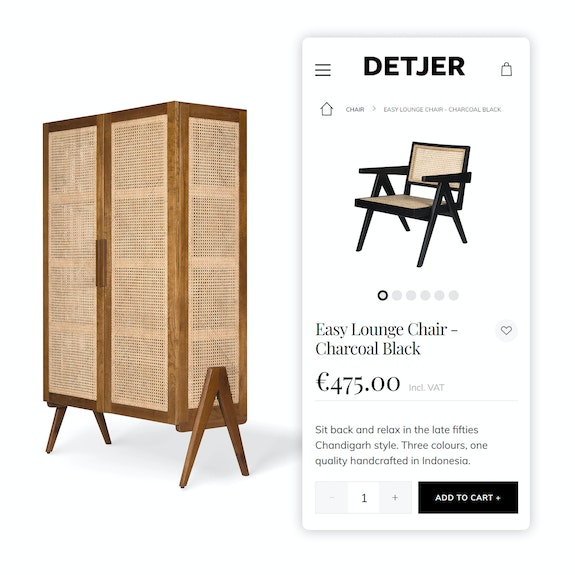 DETJER B2B - B2C Webshop - Mobile shopping