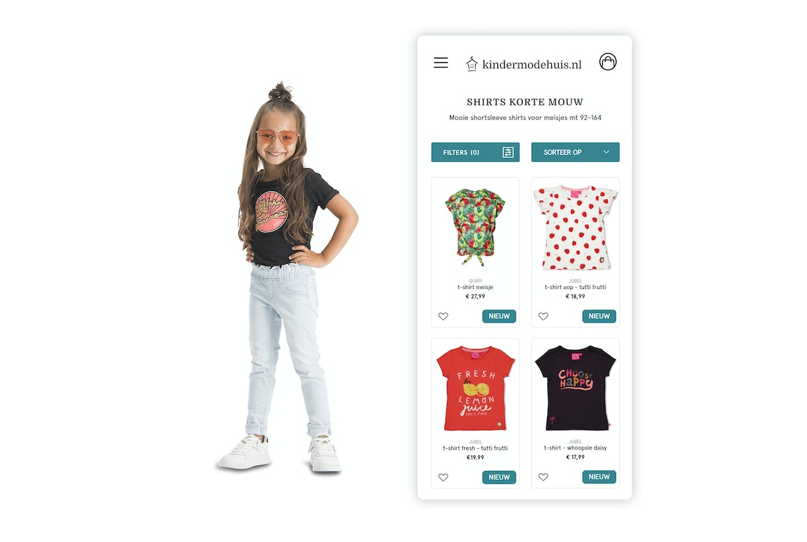Kindermodehuis Retail webshop Mobile shopping wide