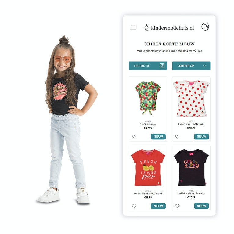 Kindermodehuis Retail webshop Mobile shopping