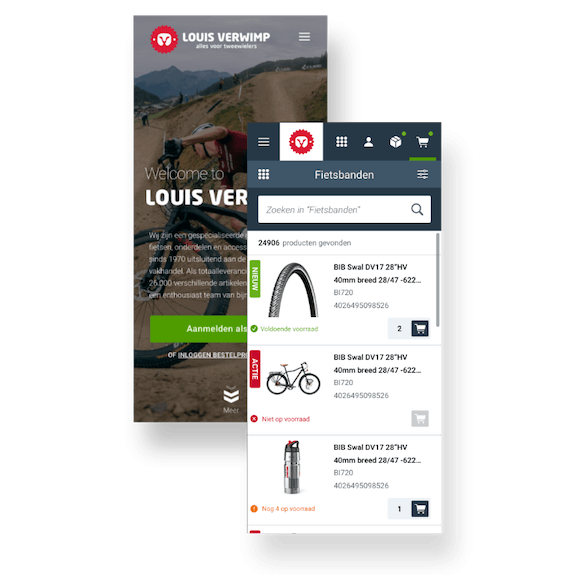 Louis Verwimp - B2B E-commerce portal - Mobile view of products